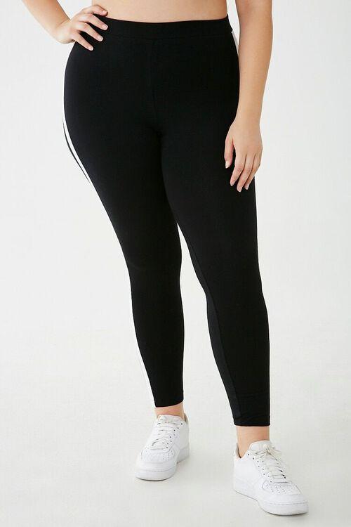 Plus Size Striped-Trim Leggings, image 2
