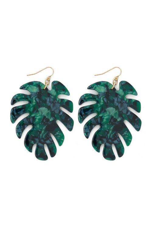 GREEN Faux Stone Palm Leaf Drop Earrings, image 3