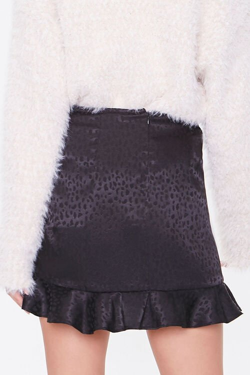 BLACK Satin Cheetah Print Mini Skirt, image 4