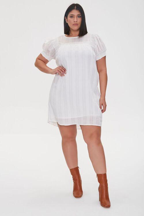 WHITE Plus Size Striped Mini Dress, image 1