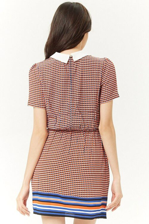 Multicolor Houndstooth Striped-Trim Dress, image 3