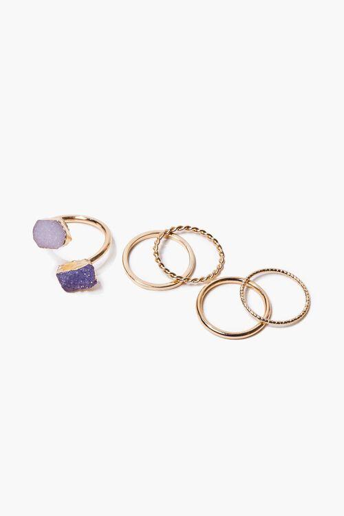 Faux Amethyst Crystal Charm Ring Set, image 1