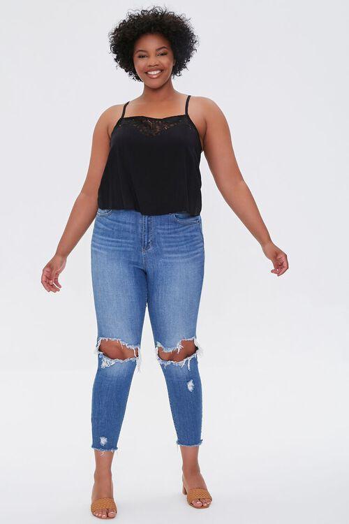 BLACK Plus Size Lace-Trim Cami, image 4