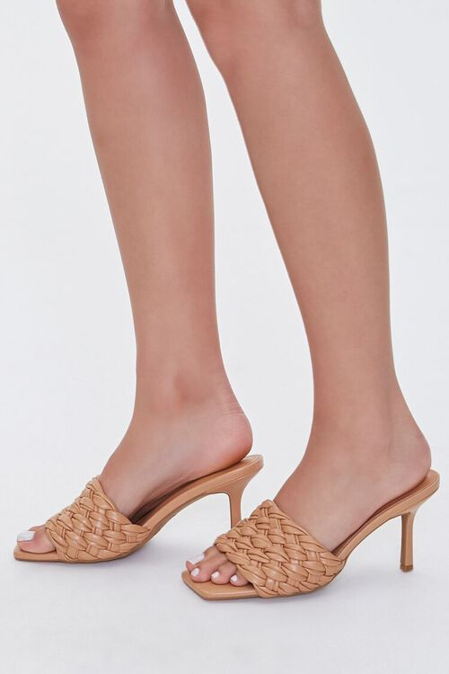 Basketwoven Square-Toe Heels, image 2