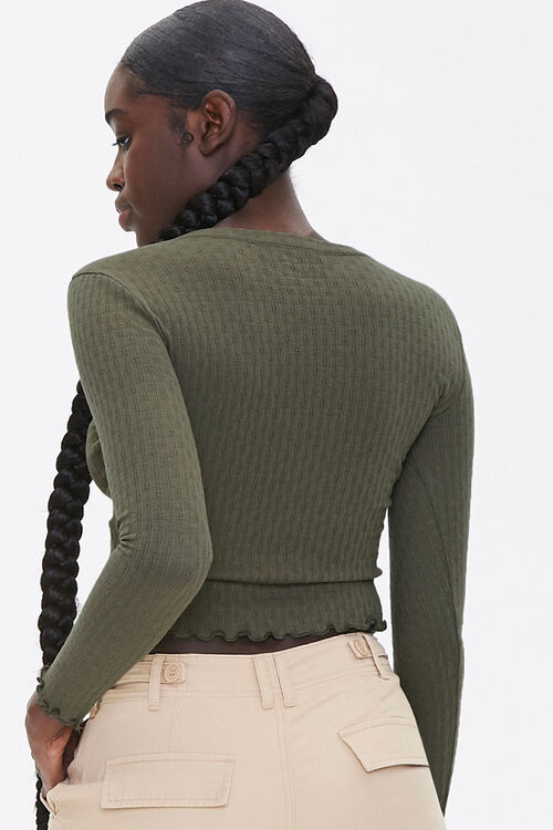 Lace-Up Pointelle Knit Top, image 3