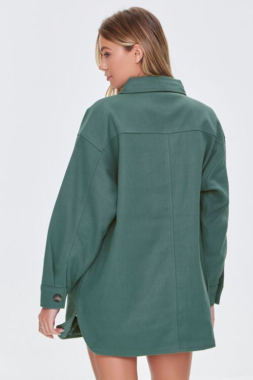 GREEN Oversized Button-Front Shacket, image 3