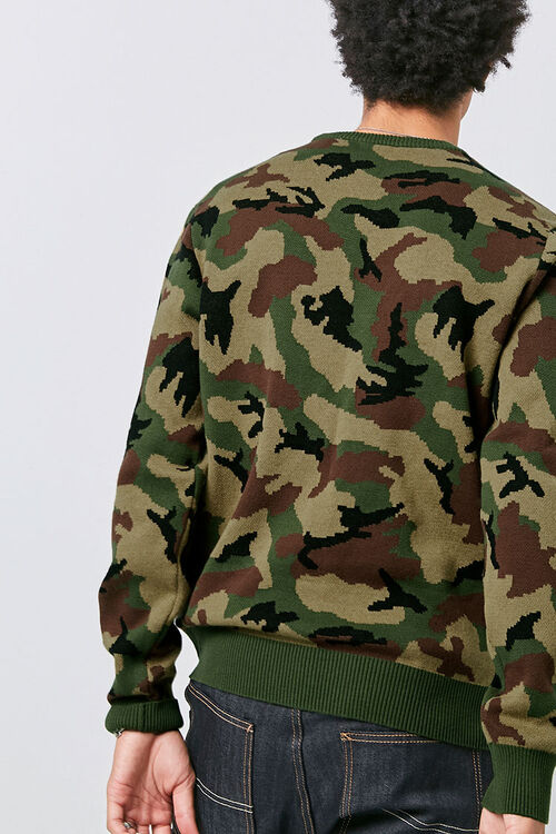Crew Neck Camo Knit Sweater, image 3