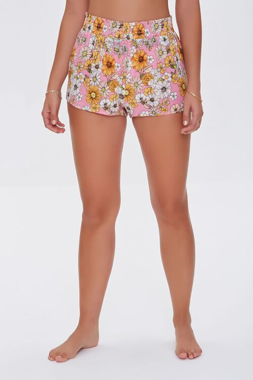 PINK/MULTI Floral Print Swim Cover-Up Shorts, image 2