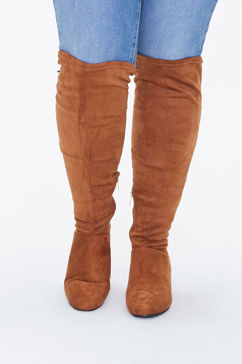 Faux Suede Knee Boots (Wide), image 3