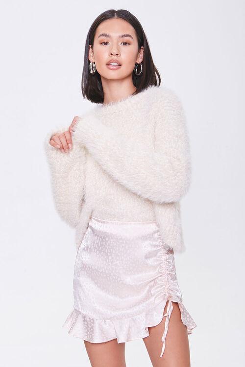 Satin Cheetah Print Mini Skirt, image 1