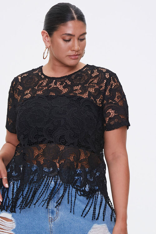 Plus Size Sheer Embroidered Lace Top, image 1