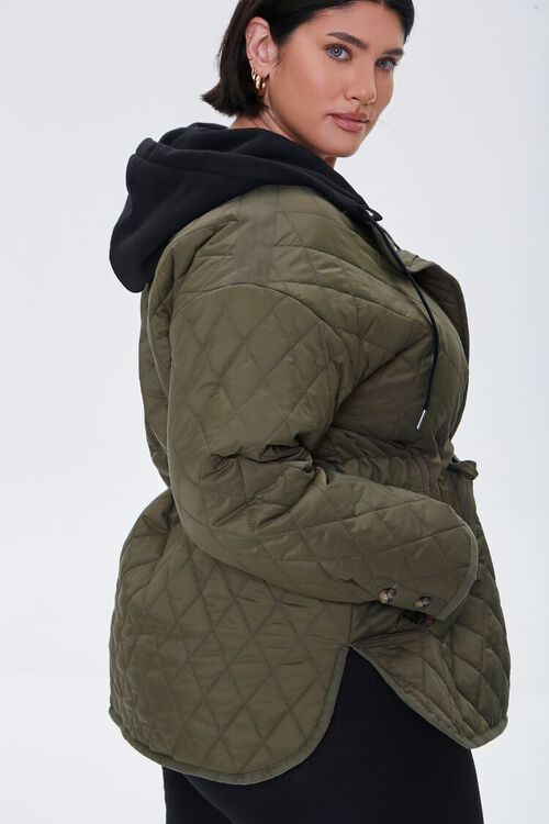 Plus Size Hooded Quilted Jacket, image 2