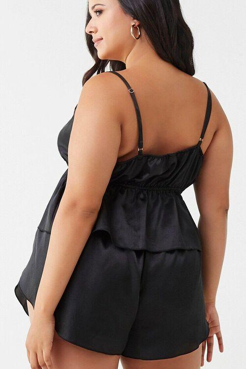 BLACK Plus Size Satin Lingerie Set, image 3
