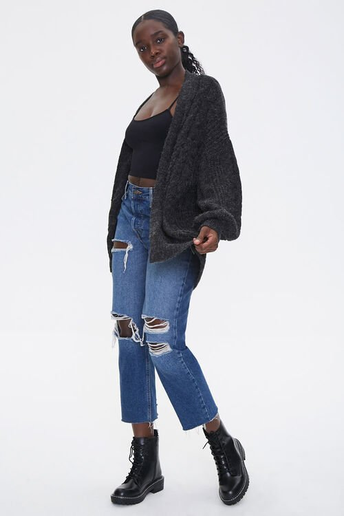 Cable Knit Open-Front Cardigan, image 4