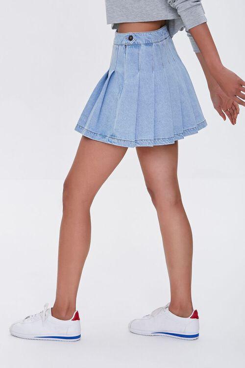 LIGHT DENIM Denim Knife Pleat Mini Skirt, image 3