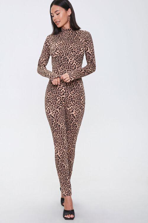 Leopard Print Mock Neck Jumpsuit, image 1