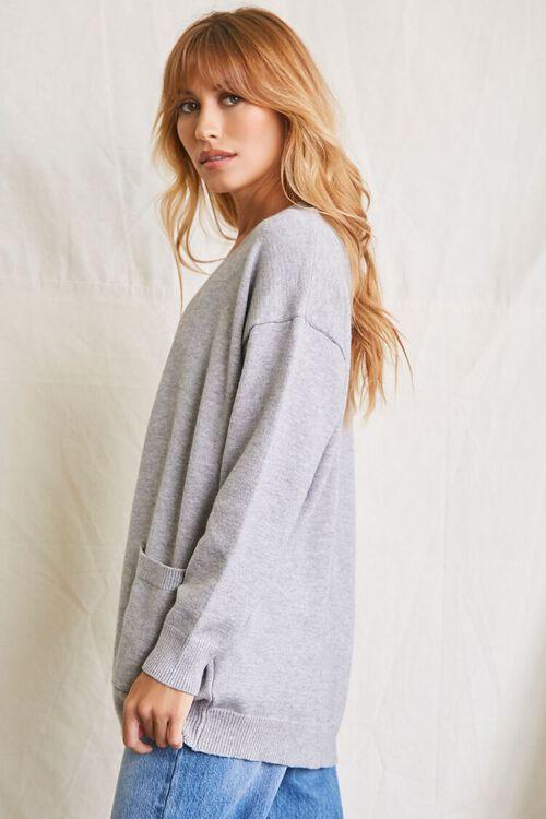 HEATHER GREY Patch-Pocket Cardigan Sweater, image 2