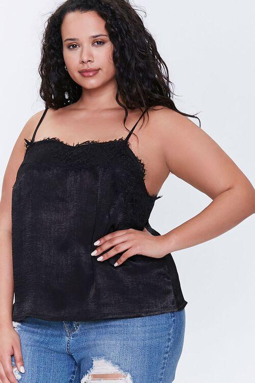 Plus Size Satin Lace-Trim Cami, image 1