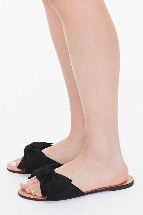 BLACK Faux Suede Bow Sandals (Wide), image 2