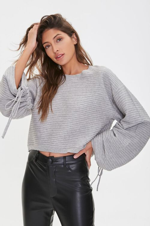 Ribbed Ruched-Sleeve Sweater, image 1