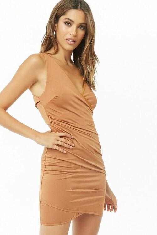 Ruched Surplice Mini Dress, image 4