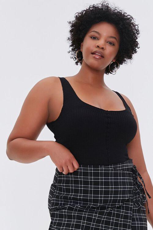 BLACK Plus Size Cropped Waffle-Knit Tank Top, image 1