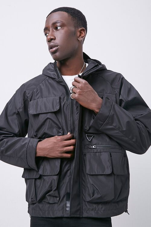 Zip-Up Hooded Utility Jacket, image 1