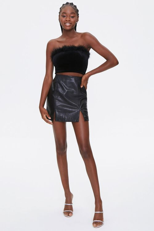 Faux Feather-Trim Tube Top, image 4