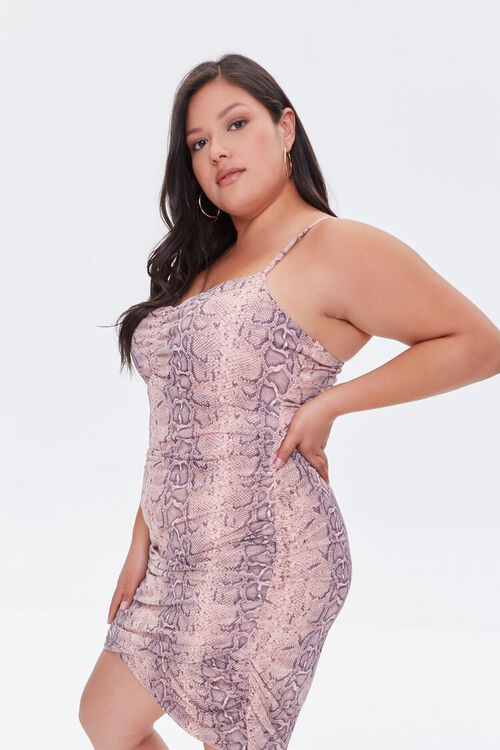 Plus Size Snakeskin Print Cami Mini Dress, image 2