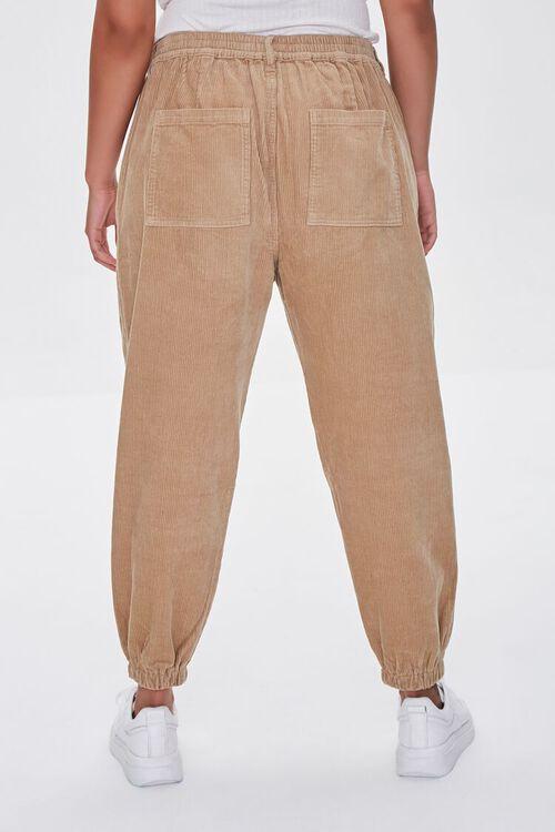 KHAKI Plus Size Corduroy Pocket Joggers, image 4