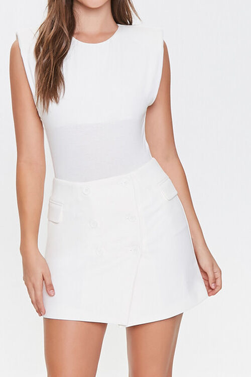 WHITE Double-Breasted Mini Skirt, image 1