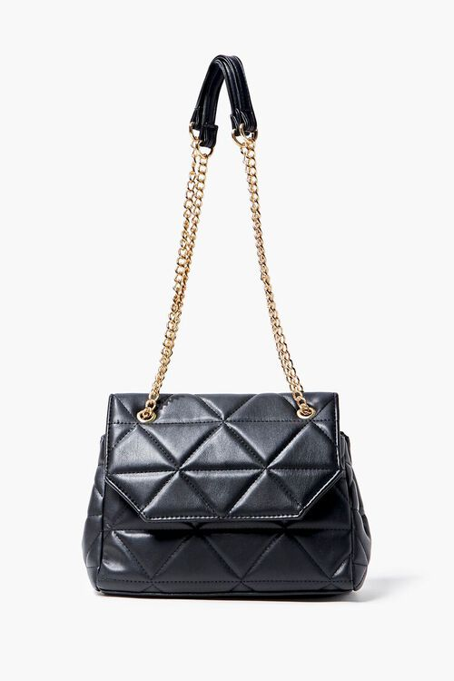 BLACK Quilted Faux Leather Crossbody Bag, image 2