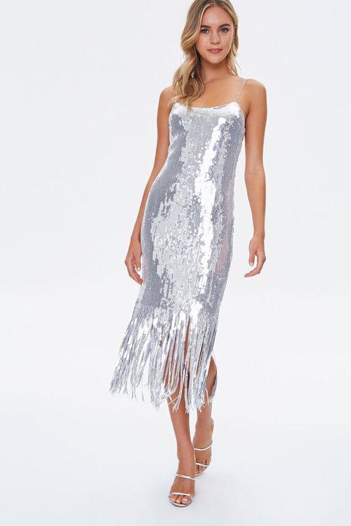 Sequin Fringe Cami Dress, image 1