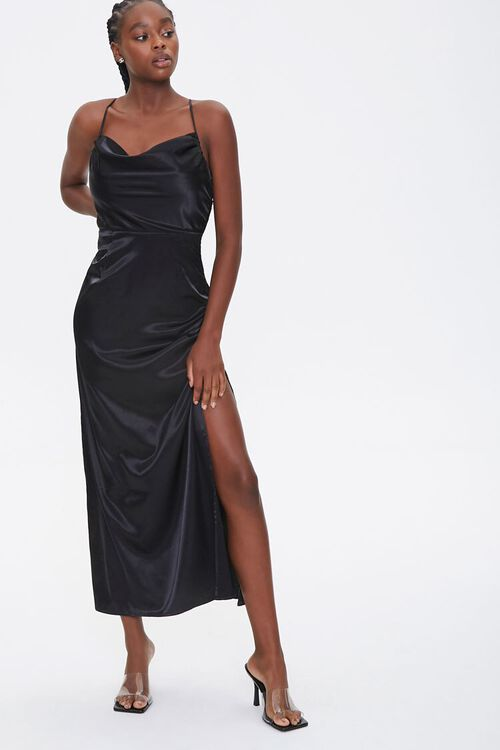 Satin Cowl Neck Maxi Dress, image 1
