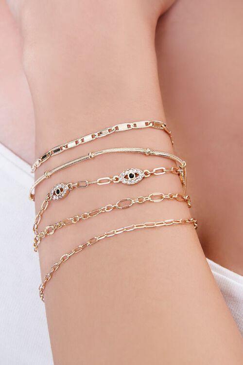 GOLD/CLEAR Rhinestone Eye Charm Bracelet Set, image 1