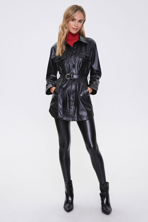 Belted Faux Leather Jacket, image 4