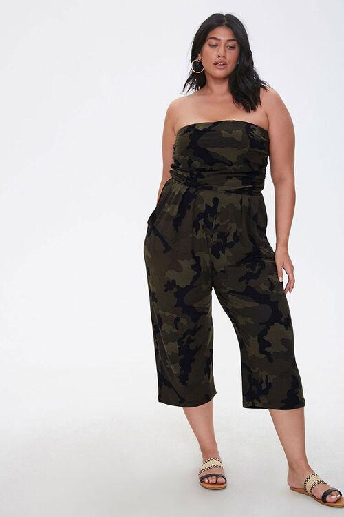 Plus Size Camo Print Jumpsuit