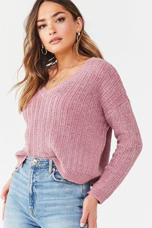 Chenille V-Neck Sweater, image 1