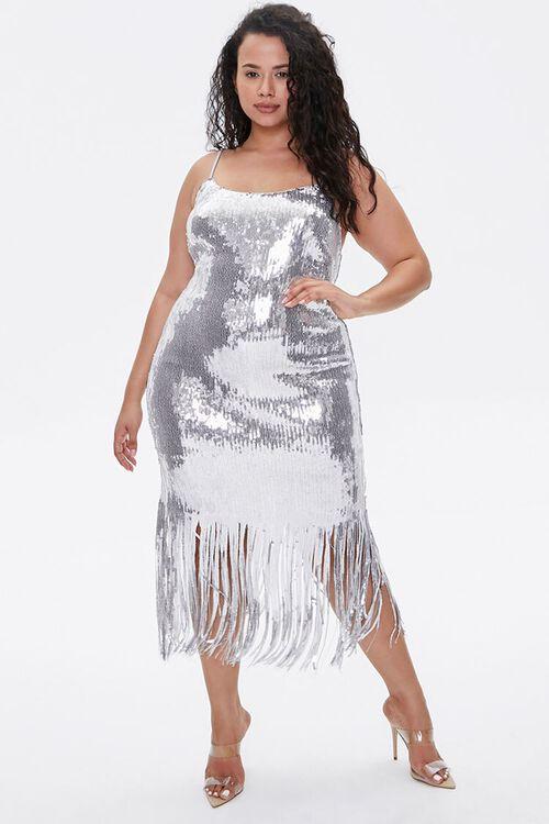 Plus Size Sequin Fringe Cami Dress, image 4