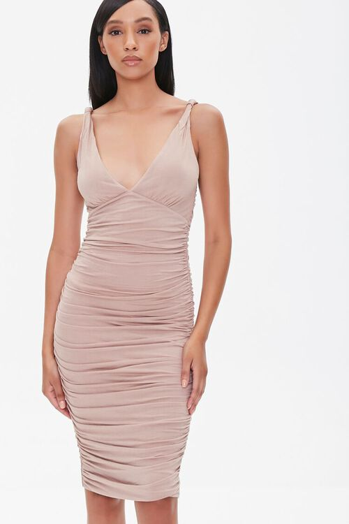 Ruched Knee-Length Bodycon Dress, image 1