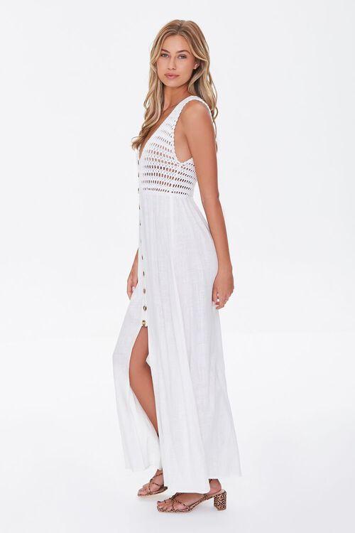 WHITE Gauze & Open-Knit Combo Dress, image 2