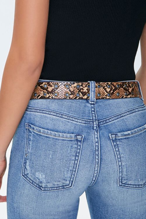 TAN/MULTI Faux Snakeskin Hip Belt, image 3
