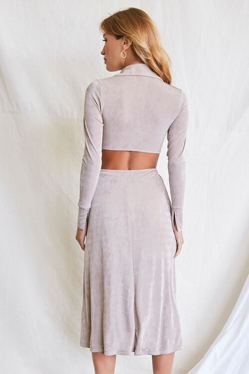 OYSTER GREY Button-Front Cutout Dress, image 3