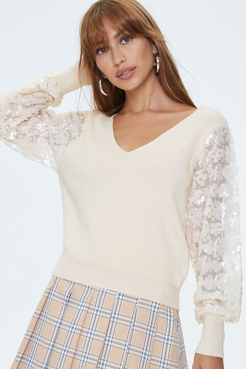 Ribbed Sequin-Sleeve Sweater, image 1