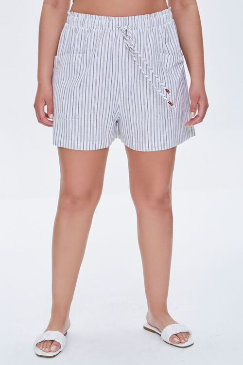 IVORY/BLACK Plus Size Striped Paperbag Shorts, image 2