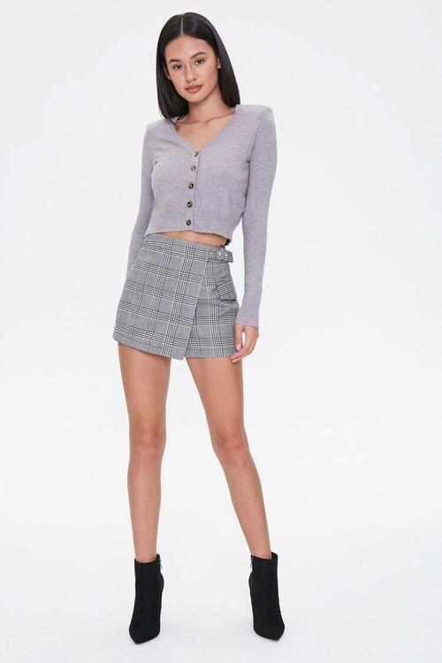 HEATHER GREY Shoulder-Pad Cardigan Sweater, image 4