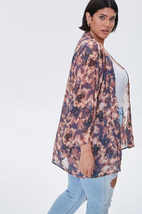 Plus Size Abstract Print Chiffon Kimono, image 2