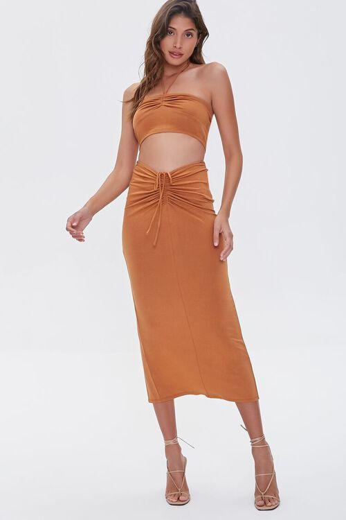 Ruched Halter Top & Midi Skirt Set, image 6