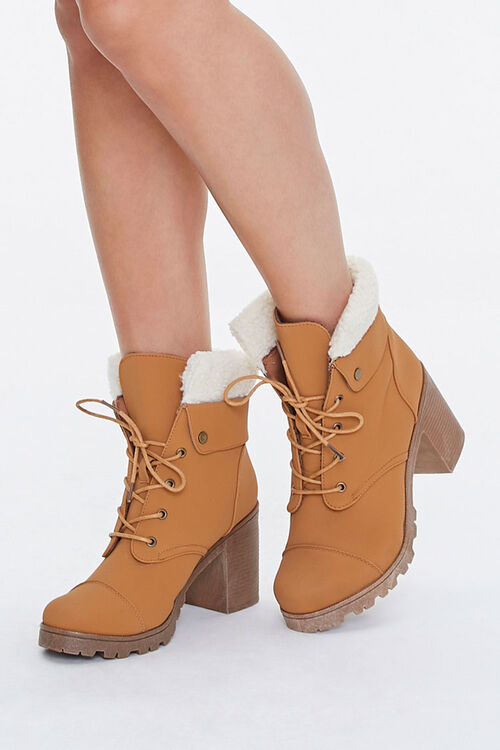 Faux Shearling Ankle Boots, image 1