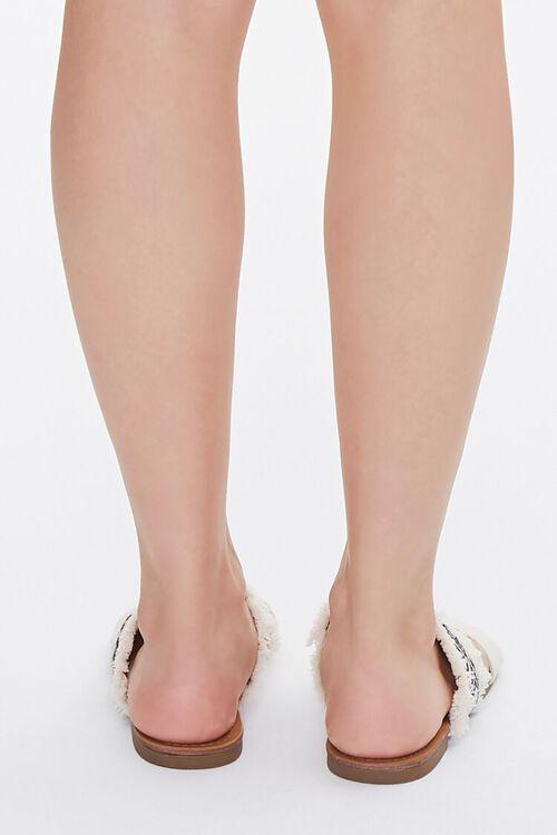 BEIGE Geo Print Frayed Sandals, image 3